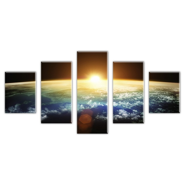 Without Framed Gifts 5 Pcs Large HD Space view Scape Canvas Print Painting for Living Room Wall Art Picture Gift Decoration Home
