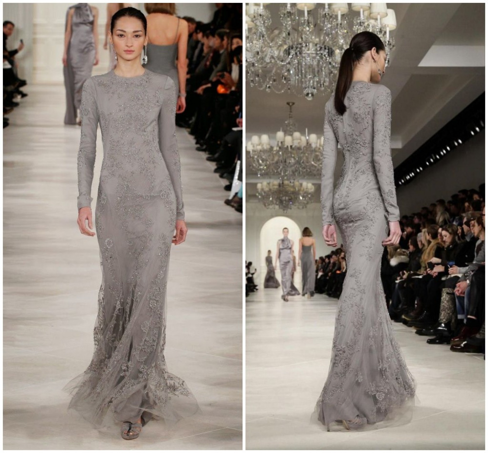 Long Sleeves Beaded Mermaid Evening Dresses Gowns Pretty Grey Tulle ...
