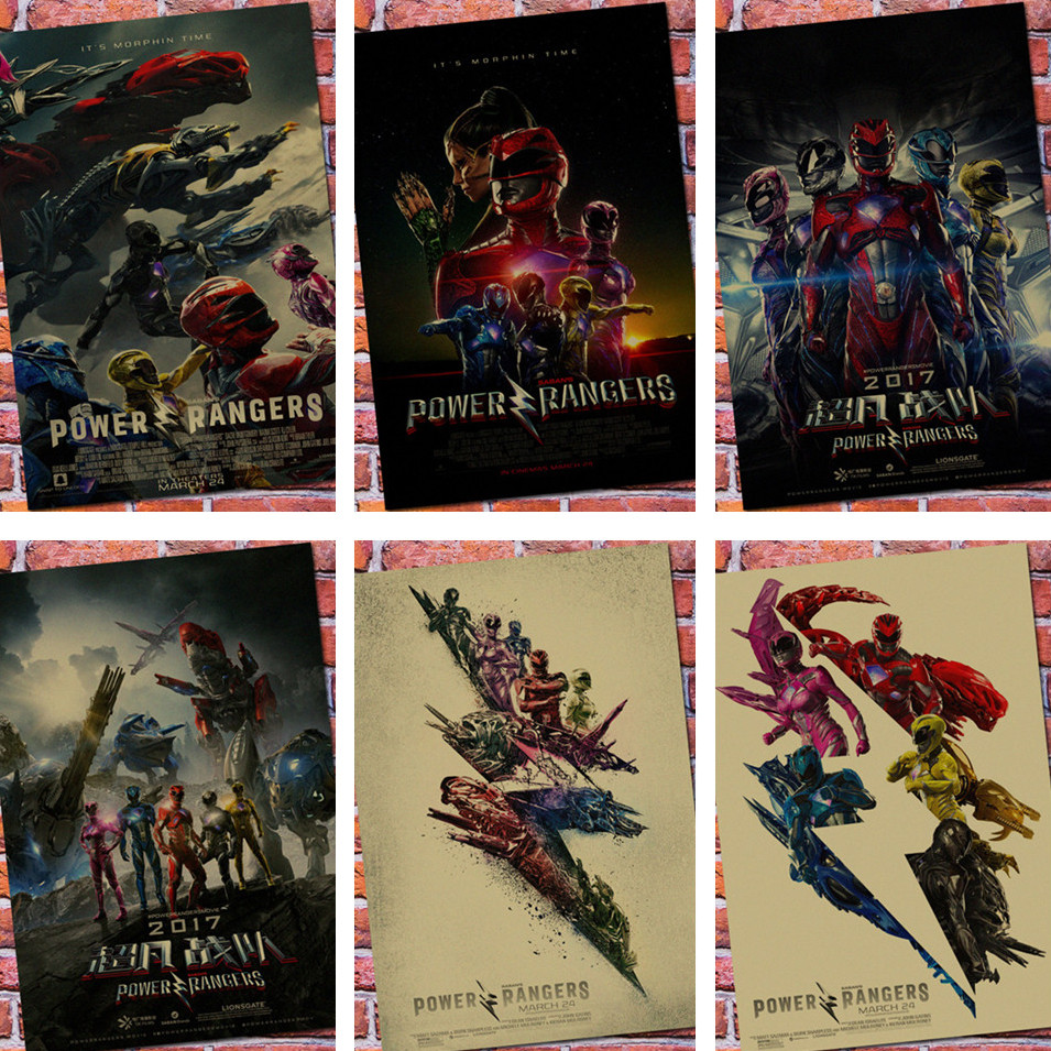 Power Rangers Vintage Poster Wall Retro Kraft Paper Decoration With