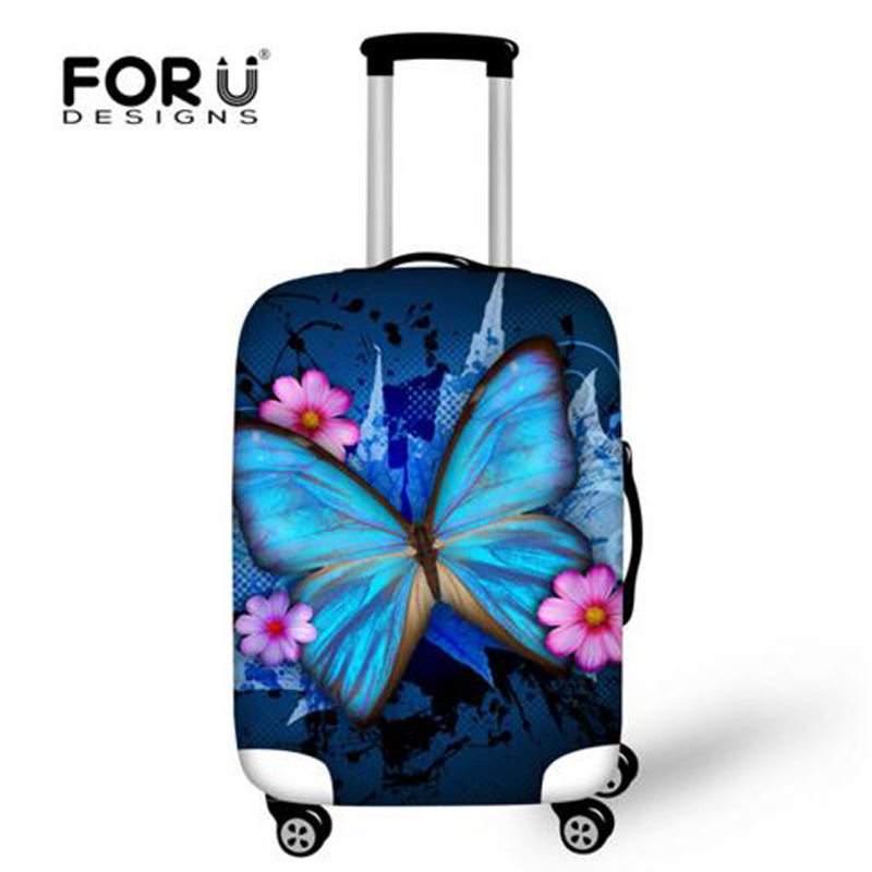FORUDESIGNS Brand Travel Luggage Protective Covers 3D Animal Butterfly Print Cover For 18-28 Inch Suitcase Elastic Luggage Cover