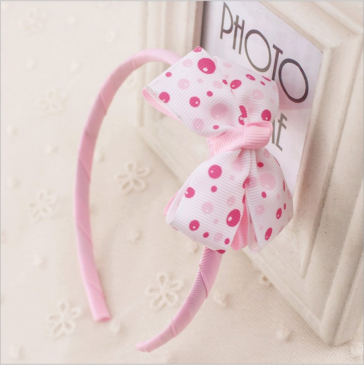 где купить Little Gilrs Red Bow Hairband Kids Pink Bubble Blue Plaid Dot Headband gum Children Hair Accessories Headwear kk1504 по лучшей цене