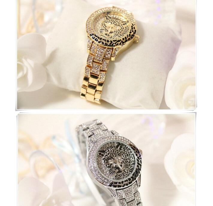 Latest New Women Watches Lady Diamond Stone Dress Watch Steel Leopard Rhinestone Bracelet Wristwatch Female Tiger Crystal Watch 5