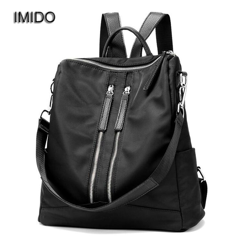IMIDO 2017 New Brand design Nylon backpacks women bags travel backbag for girls casual shoulder backpack black escolar SLD011