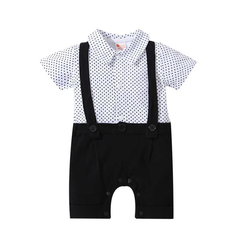 Summer Baby Boy Gentleman Clothing Short Sleeve Romper Toddler Bow Bib Dot One-piece Infant Jumpsuit Formal newborn
