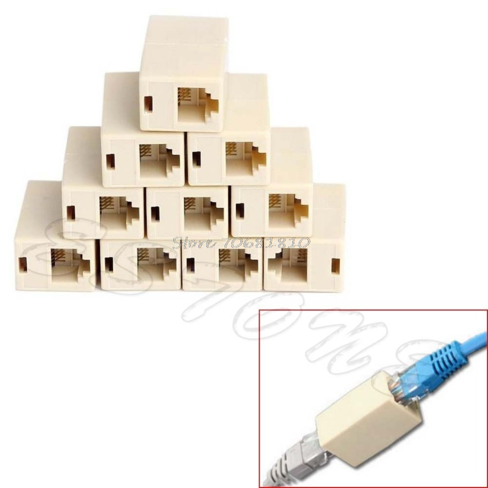 10Pcs RJ45 CAT5 Coupler Plug Network LAN Cable Extender Connector Adapter -R179 Drop Shipping vention 4 pin rj 11 6p4c telephone straight coupler cable extender 10pcs