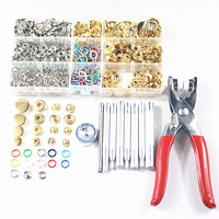 100sets 9.5mm Prong Snap Buttons Popper Buckle+Buttons Plier+40set Gold Metal Snap Fastener Press Stud Buttons+9pcs Fixing Tools