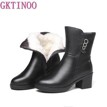 GKTINOO New Women Winter Snow Boots Mid-Calf Thick High Heels Full Genuine Leather Shoes Women Warm Wool Boots Ladies Plus Size