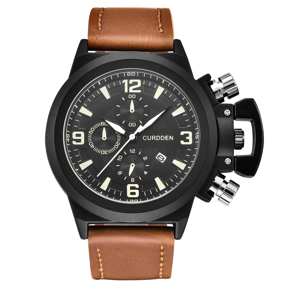 CURDDEN Brand Watches Mens Leather Sports Military Big Face Date Quartz WristWatch Erkek Gifts Saat Montre Homme de Marque 2020