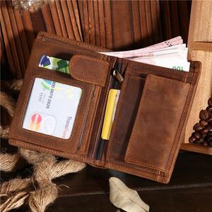 Image 5 - هدية عيد الأب خمر تخصيص جلد البقر الحقيقي قصيرة سميكة بطاقة النقدية عملة حافظة نقود حامل جيب للرجل 566