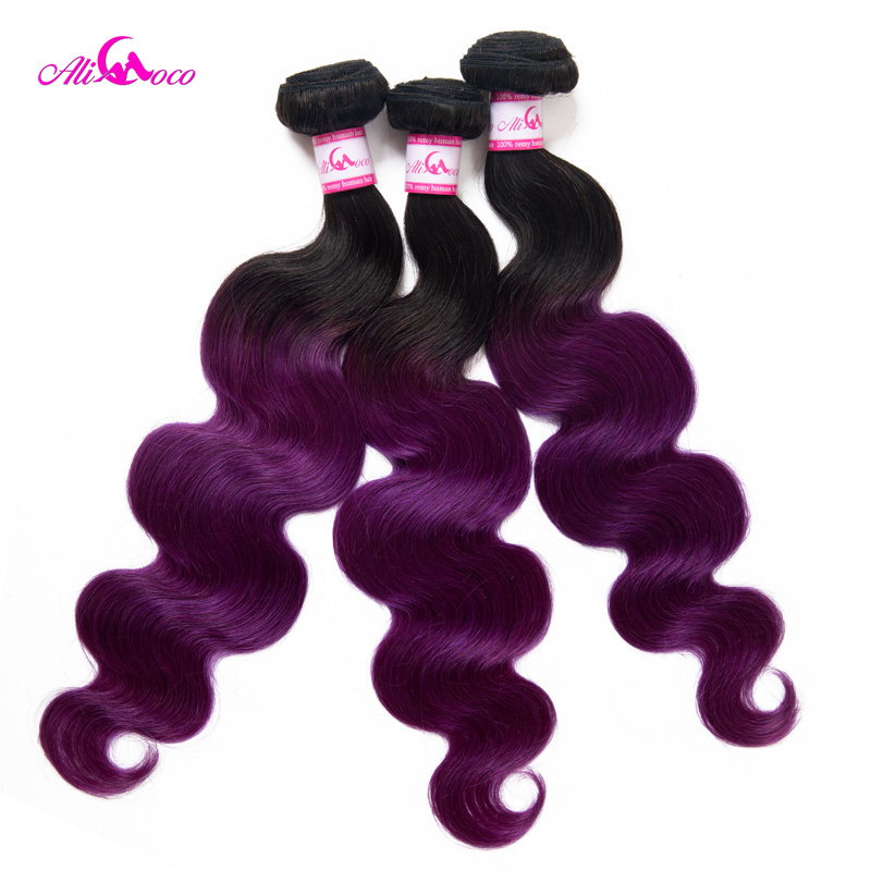 Ali Coco Brazilian Body Wave Hair Extensions 3 Bundle Deal 1B/Purple Color Remy Hair 8-30 Inch Human Hair Weave Bundles