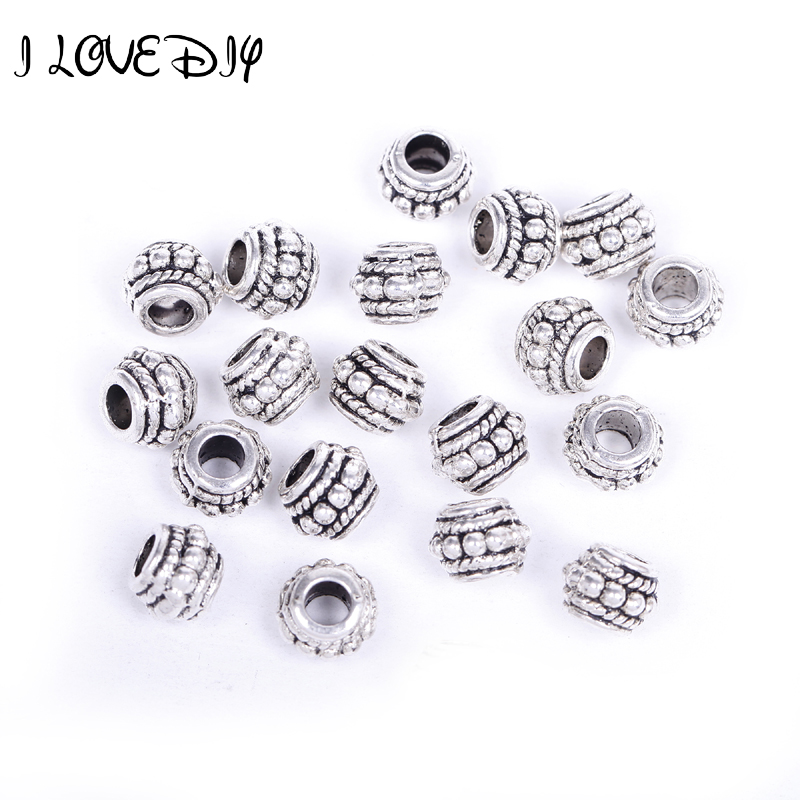 Outstanding Features Genteel Wholesale Metal Antique Silver Tibetan Spacer Beads For Jewelry Making 8x6mm i Love Diy Hole Size 4mm