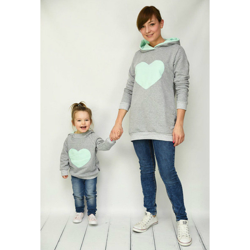 Fashion Family Matching Spring Autumn Hoodies Mother Daughter Sweatshirt Cotton Mom and Daughter Clothes Family Matching Outfits