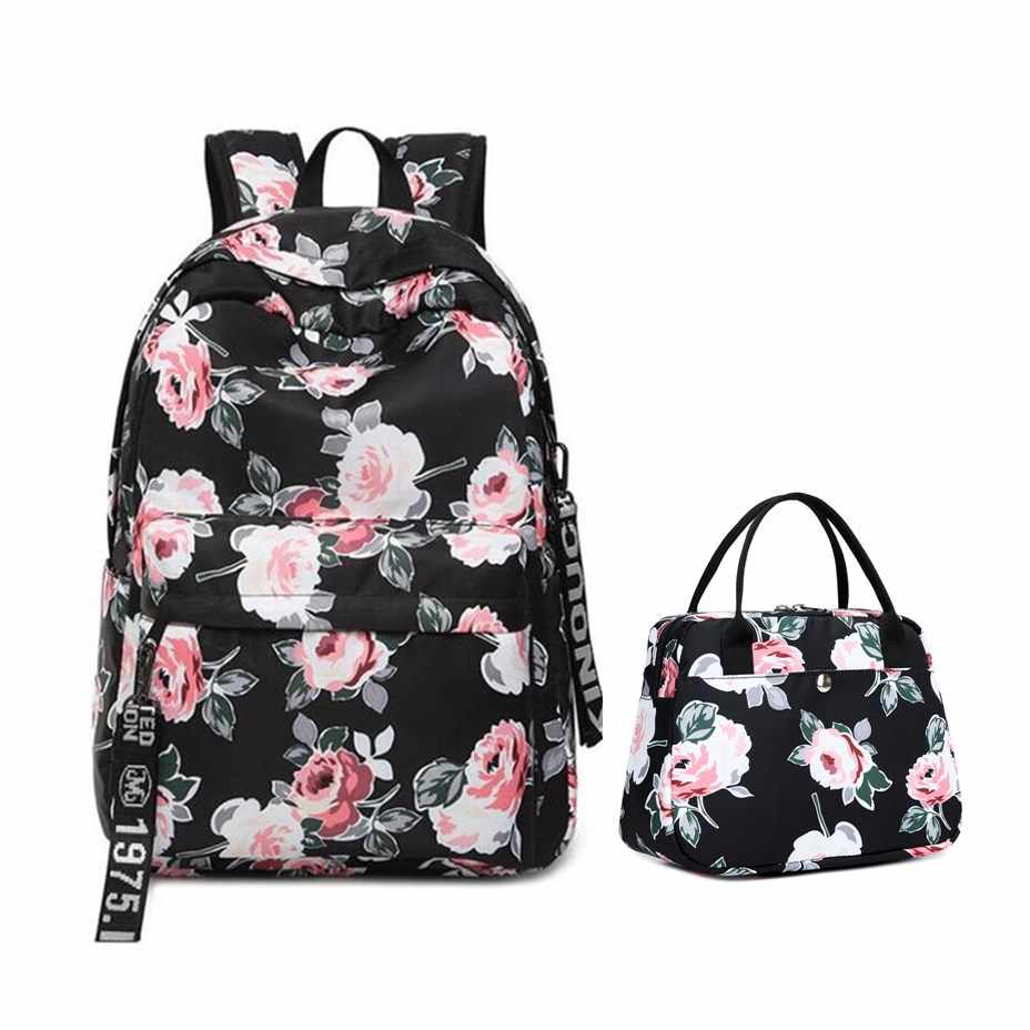 75f1d14500b8 OKKID floral school backpack for girls black flower printing ...