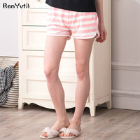 RenYvtil womens pajama bottoms comfortable cotton sleep shorts Loose Summer Thin striped pants women sexy pijama femme new