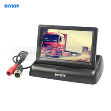DIYKIT DC12V-24V 4PIN 4.3 polegada TFT LCD Dobrável Monitor Do Carro Reversa Vista Traseira para Ônibus Do Caminhão Do Carro