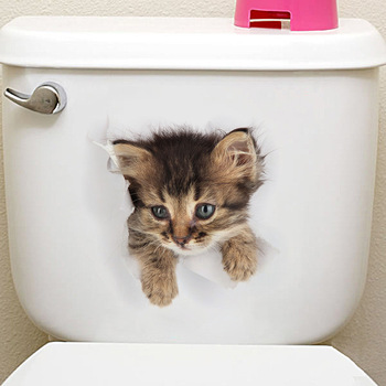 Cats 3D Wall Sticker Toilet Stickers Hole View Vivid Dogs Bathroom Home Decoration Animal Vinyl Decals Art Sticker Wall Poster 28