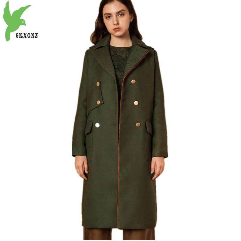 OKXGNZ 2018 European Women Autumn Winter Woolen Coats New Fashion ArmyGreen Woolen cloth Outerwear Thick Warm Woolen Coats Q063