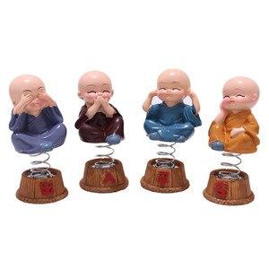 Image 2 - Adornos de coche, 4 unidades/juego de cabezas de Bobble de resina, decoración de muñecas Tomy Monks, Maitreya Buda, regalo de figura, Charms con colgante automático