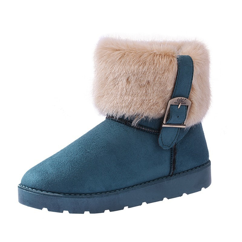 Women Fashion Snow Shoes Winter Cold Keep Warm 100% Wool Fur Plush Slip-On Flock Shoes Faux Suede Surface Faux Fur Buckle Button 2017 new lightweight breathable suede mens casual shoes adult keep warm with fur