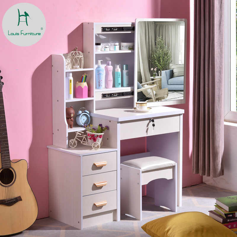 Louis Fashion Dresser Bedroom Simple Economic Space Makeup Table, Storage Box Small Size Cosmetic Cabinet
