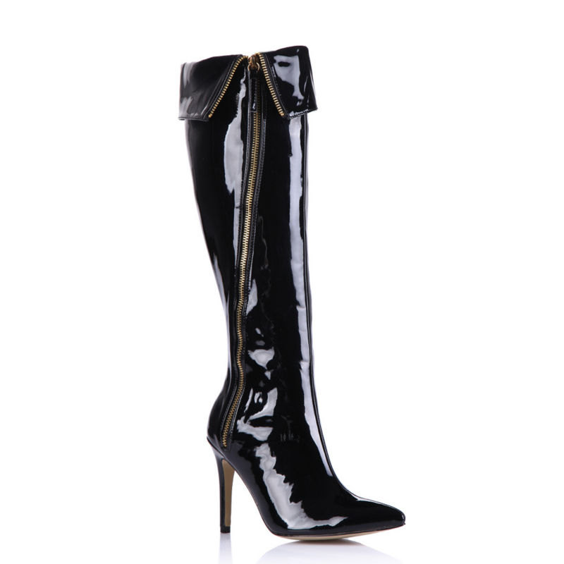 2016 Winter Black Sexy Party Shoes Women Pointed Toe Stiletto High Heels Zipper Ladies Knee-High Boots Zapatos Mujer 70887BT-d2