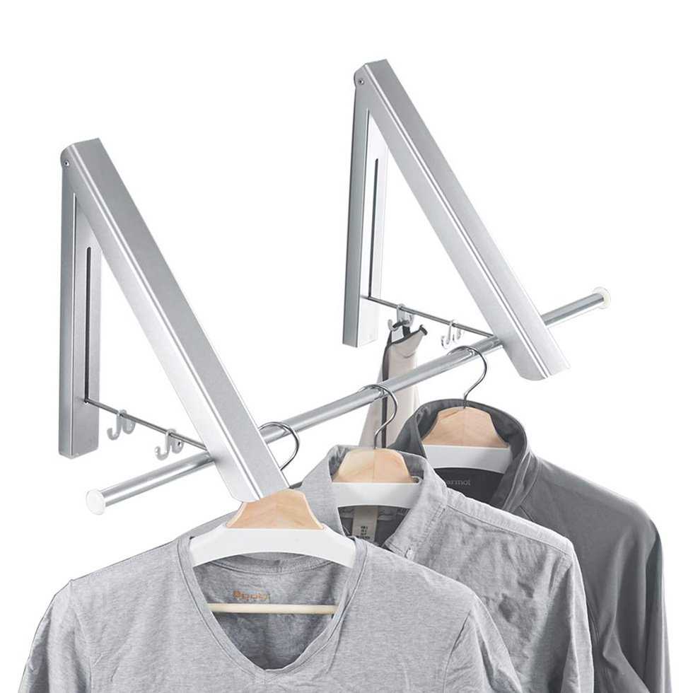 Bathroom Fixtures Fold Collapsible Triangular Wall Mounted Clothes Storage Drying Rack With Hanging Rod For Heavy Duty Bathroom Balcony Laundry