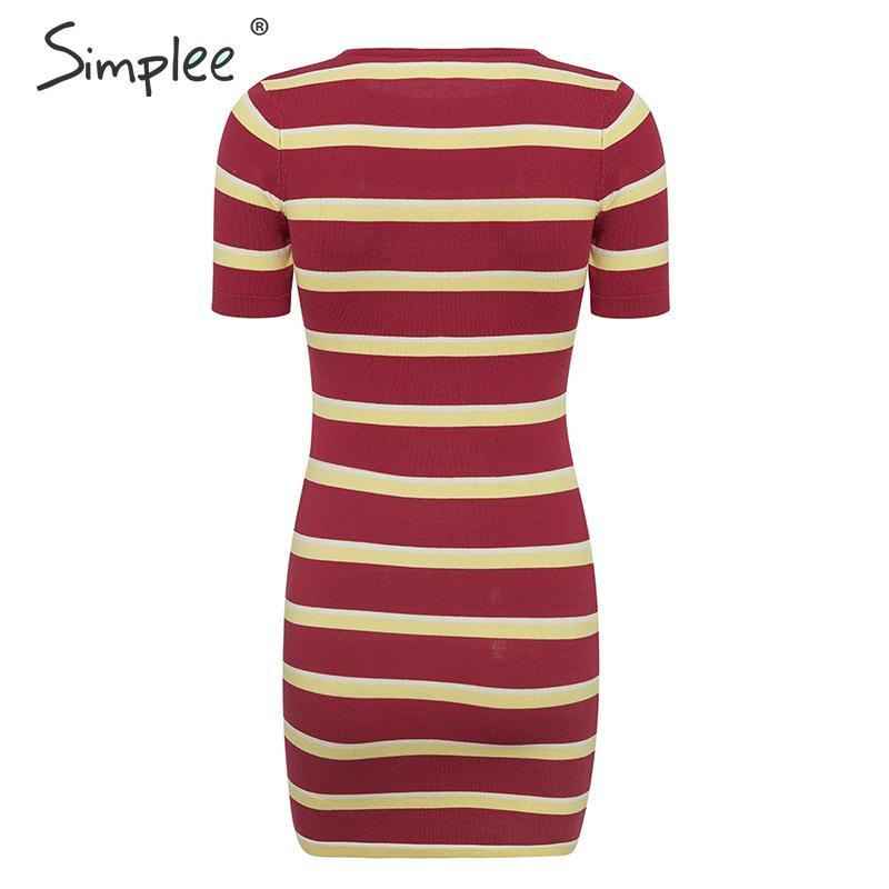 Simplee Red stripe knitted bodycon women dress Short sleeve slim fit female winter dress O-neck casual streetwear ladies dress