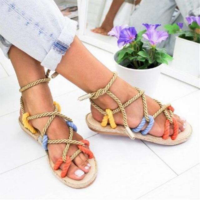 Womens Boho Rope Sandals