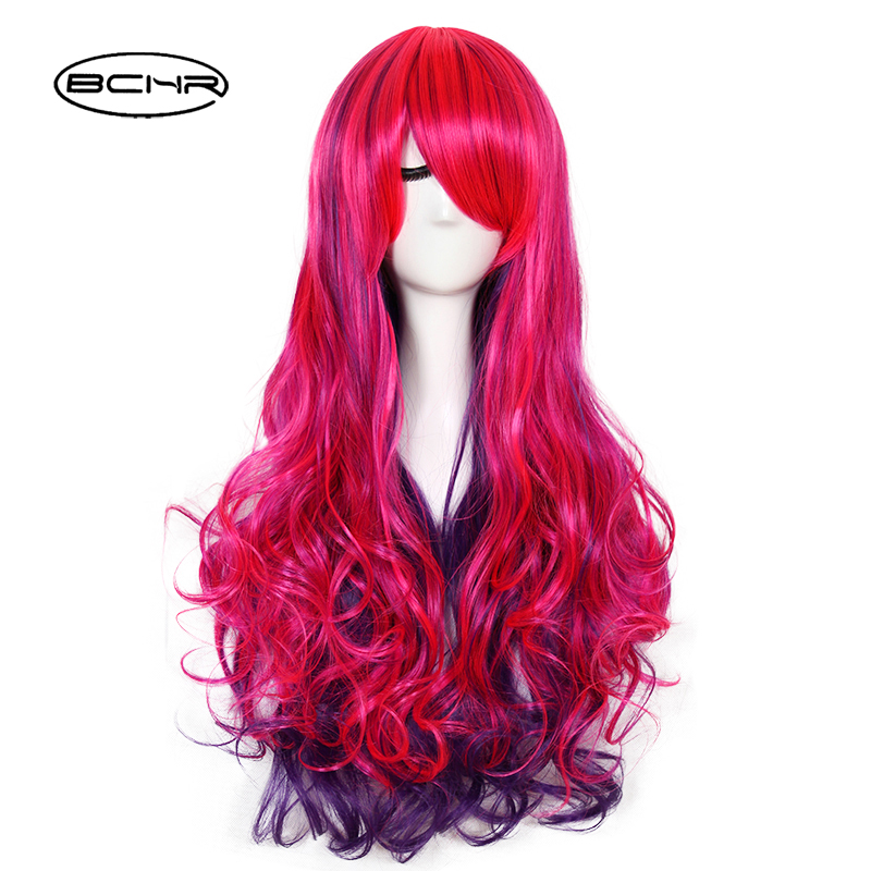 BCHR Long Wavy Cosplay Heat Resistant Synthetic Ombre Hair Wig For Women Free shipping ...