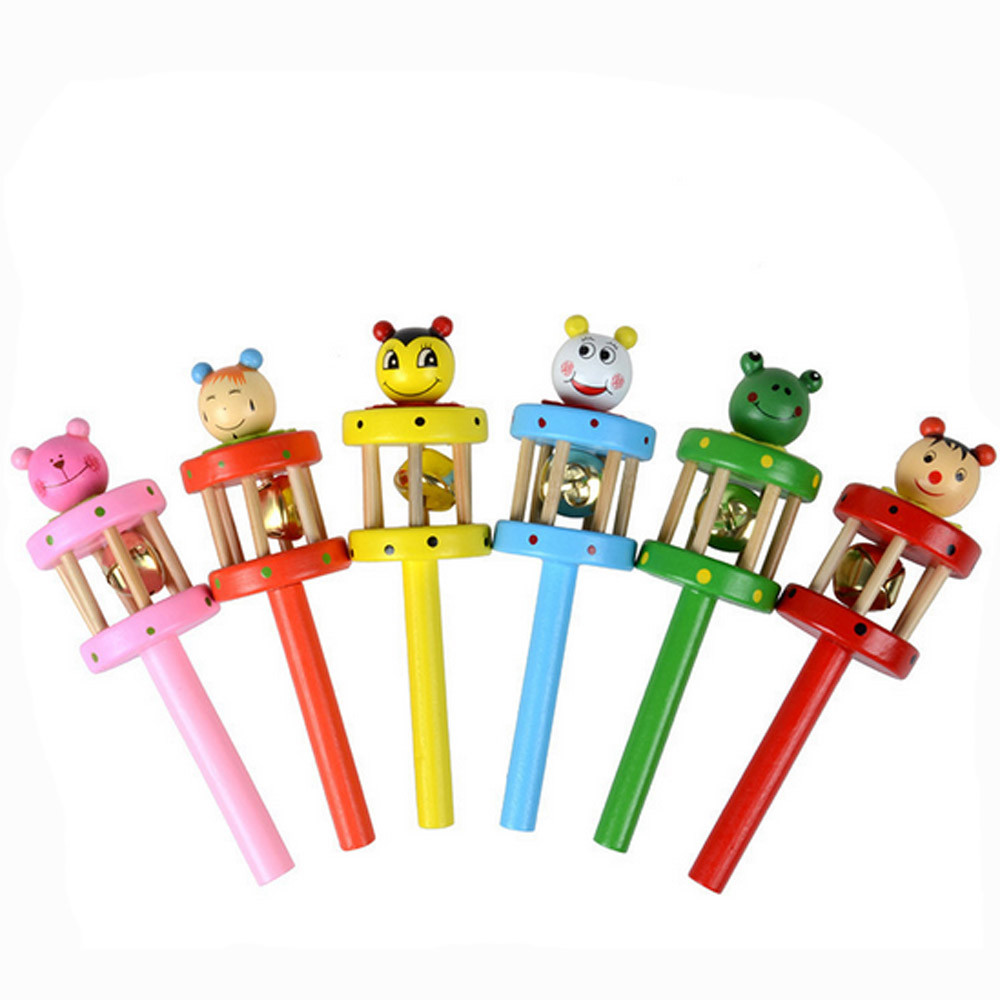 Kids 2018 Wooden Baby Toy Rattles Cartoon Animal Wooden Handbell Musical Developmental Instrument For Baby Education