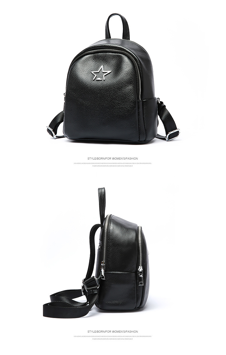 FoxTail   Lily Metal Pentagram Design Genuine Leather Backpack ... bb27f8f7cb