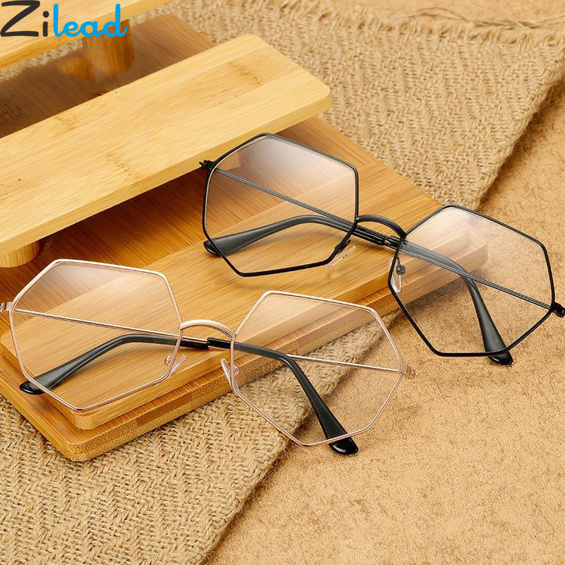Zilead Retro Polygon Metal Plain Glasses Women&Men Clear Lens Optical Spectacle Frame Myopia Glasses Frame For Female&Male