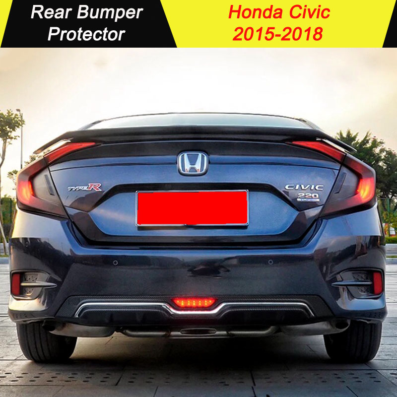 Rear Bumper Lip Diffuser For Honda Civic 2015 2016 2017 2018 Rear Bumper Diffuser Bumpers Protector