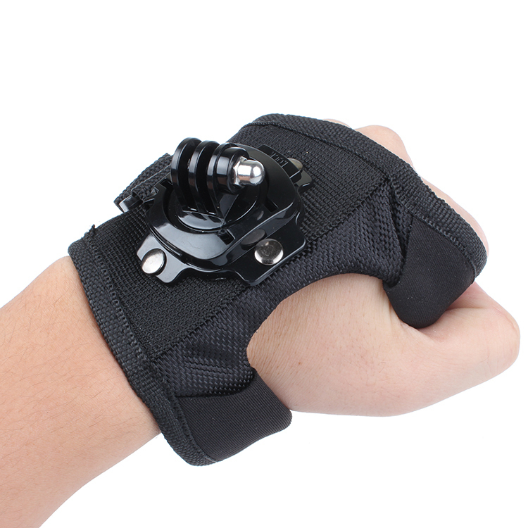 For Go Pro 360 Degree Rotation Glove style Wrist Hand Band Mount Strap For GoPro Hero 4 Hero 4 Session 3+ 3 2 Xiaoyi cam protective pc back case w 360 degree rotation hand strap holder for ipad 3 4 white
