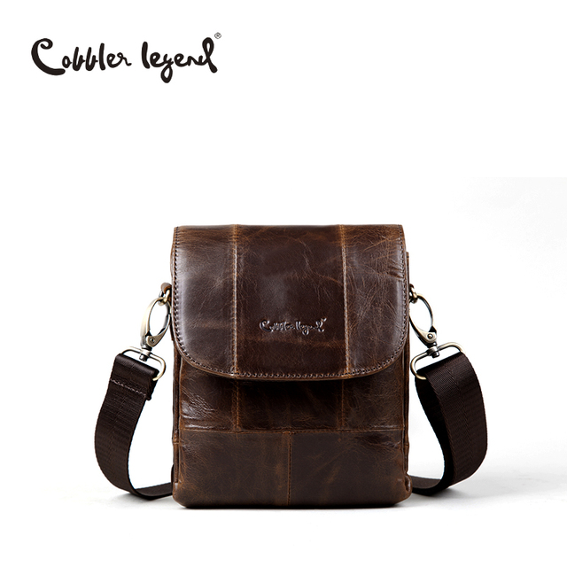 Cobbler Legend Original Real Cowhide Leather Men Bag For Man 2016 New Vintge Style Men's Mini Cross Body Shoulder Bags 911048-1