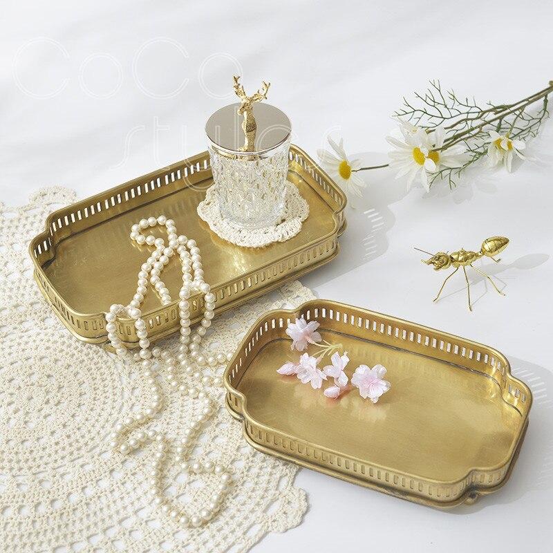 Cocostyles InsFashion super top et joli plateau en laiton fait main pour présentoir de bijouterie et plateau de rangement pour chambre de fille
