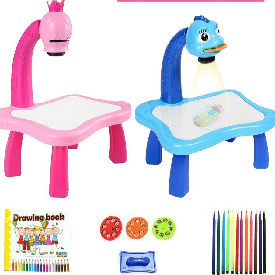 Kids Toy Painting Drawing Table Led Projector Music Toys Kids Arts And Crafts For Kids Children Notebook Pen Office Toddler Toy