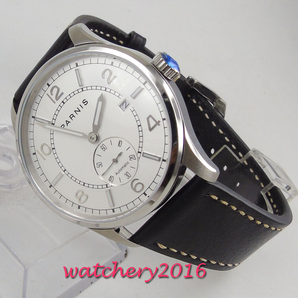 42mm parnis White Dial mens Watches Top Brand Luxury Date Steel Case Leather strap ST 1731 Automatic Movement men's Watch цена и фото
