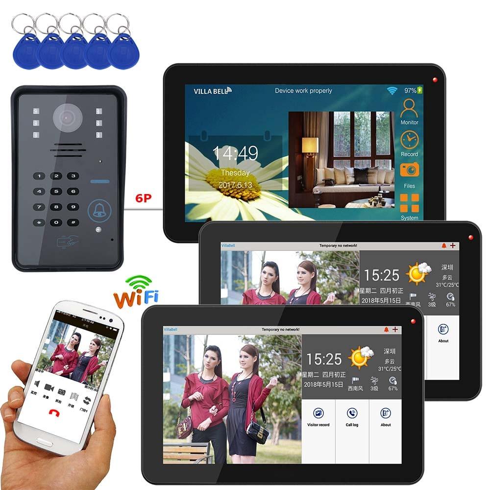 9 Inch 3 Monitors Wired / Wireless Wifi RFID Password Video Door Phone Doorbell Intercom System With + IR-CUT HD 1000TVL Camera