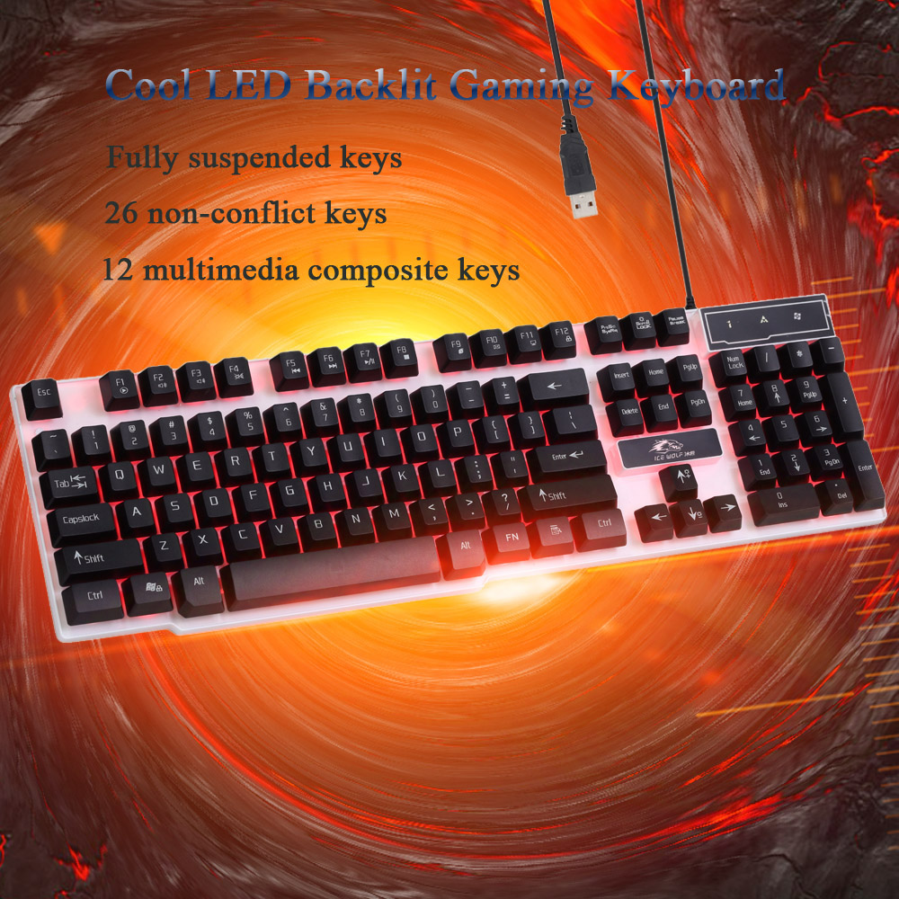 Super Discount Ergonomic LED Illuminated Backlit Multimedia Professional Esport Gaming Qwerty Keyboard USB Wired with 104 Keys