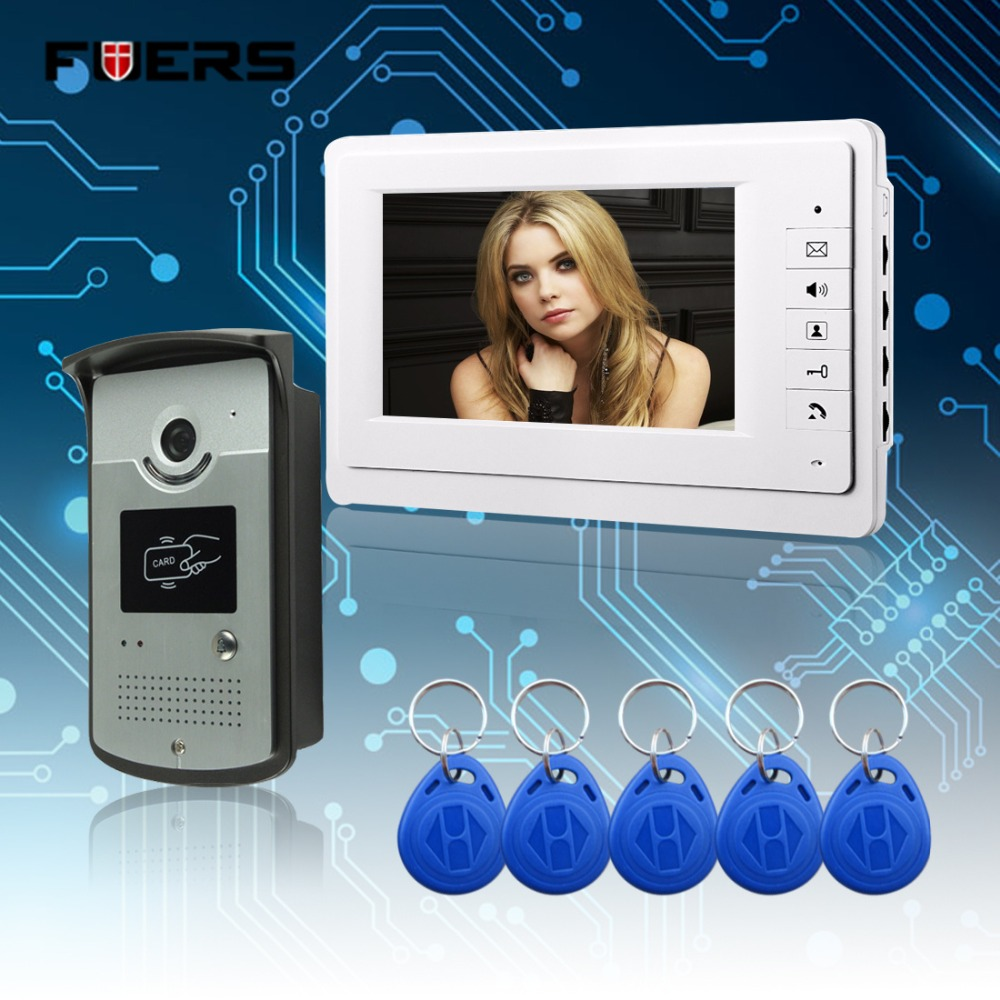 Fuers New 7 inch Color Video Door Phone Intercom Doorbell System + 1 Monitor + RFID Access Waterproof Camera In Stock  jeruan new 7 inch touch key color video intercom entry door phone system rfid access doorbell camera 1 monitor in stock