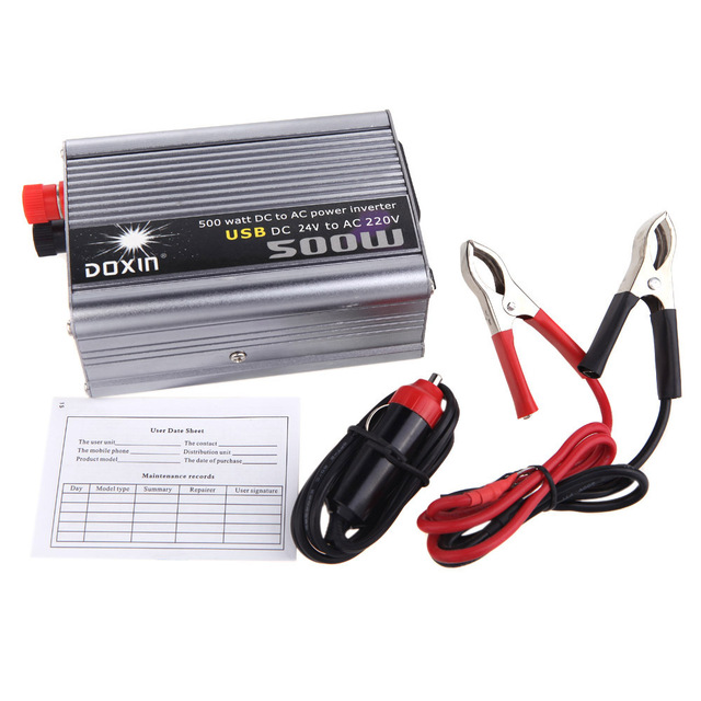 500W Watt Car Power Inverter Converter DC 24V to AC 220V USB Adapter Portable Voltage Transformer Car Chargers Power Supply