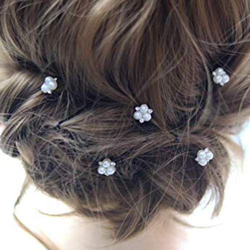 6pcs/lot Women Fashion Wedding Party Girls Bling peal Hair accessories Barrettes