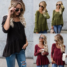 2017 KLV New Fashion Women Loose Kitted Casual Sweater Ladies Long Sleeve Knitwear Tops#20