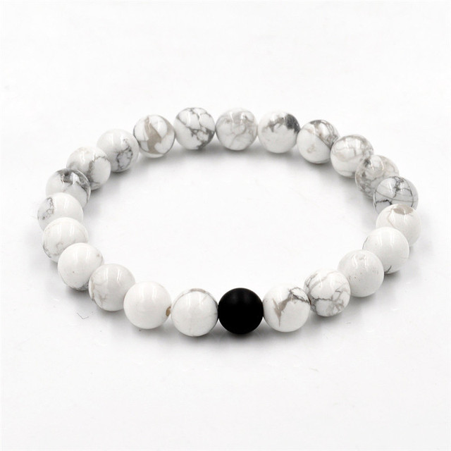 2Pcs/set New Fashion White and Black Natural Stones Couple Bracelets In Charm Beads Lovers Bracelets For Men and Women 8mm