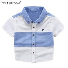Лоскутное блузка летние коротким футболки мальчиков мальчики рубашки моды топы детская