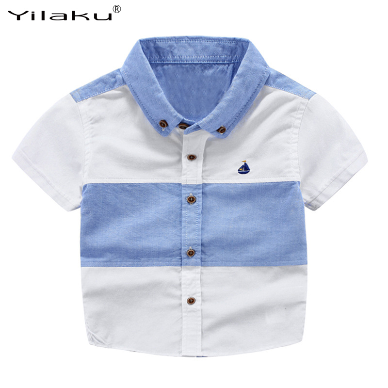 Yilaku Hot Boys Shirts Fashion Short Sleeve Patchwork Kids Shirt High-quality Cool baby Tops Children Clothing for Boy CG074