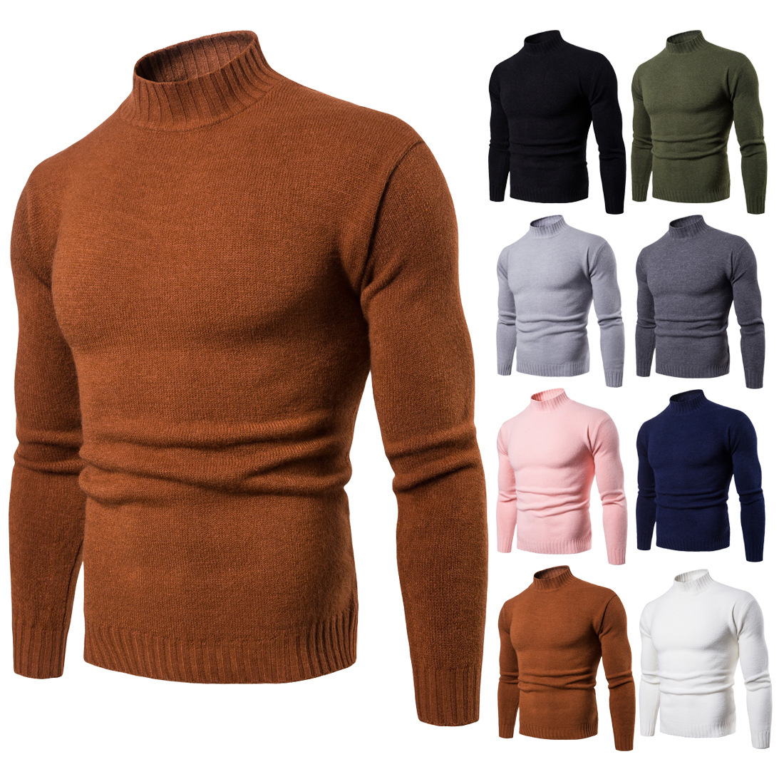 2018 autumn and winter foreign trade men's necked sweater knitted sweater with high necked necked shirt Hat Leisure time