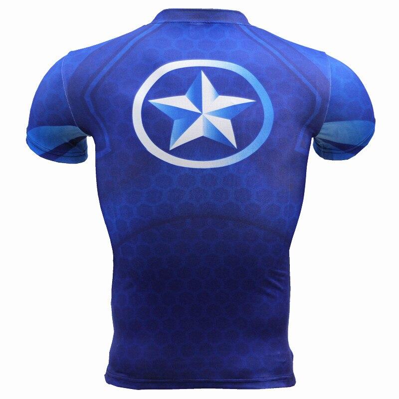 Kaptan Amerika 3D Kas Gömlek Erkekler Slim Fit T Shirt Vücut - Erkek Giyim - Fotoğraf 2