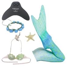 5 pcs / set Children Girls Swimsuit Ariel Mermaid Tail Costumes Swimming Monofin Tails Cosplay